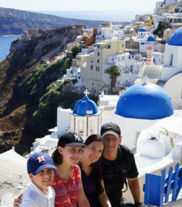 family in Oia Santorini greece